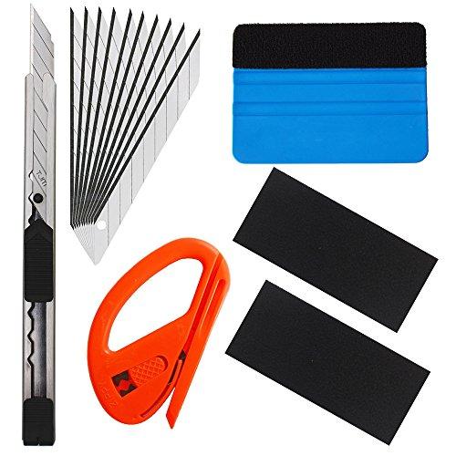 EEFUN 6 in 1 Kit di attrezzi di installazione per il vinile di tinta di avvolgimento della finestra dell'automobile con il coltello di utilità, il taglierina di sicurezza di Snitty, la spatola di PP.