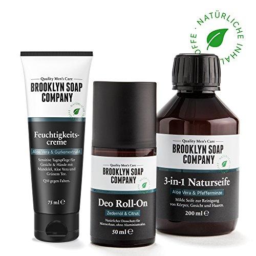 Natürliche Körperpflege: Grooming Bag - Feuchtigkeitscreme (75ml), Deo Roll-On (50ml) und Naturseife 3 in 1 (200 ml) Naturkosmetik der BROOKLYN SOAP COMPANY - Geschenkidee als Geschenk für Männer