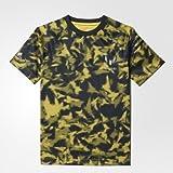 adidas Yb M Q AOP Tee-T-Shirt, Grau/Gelb, 128