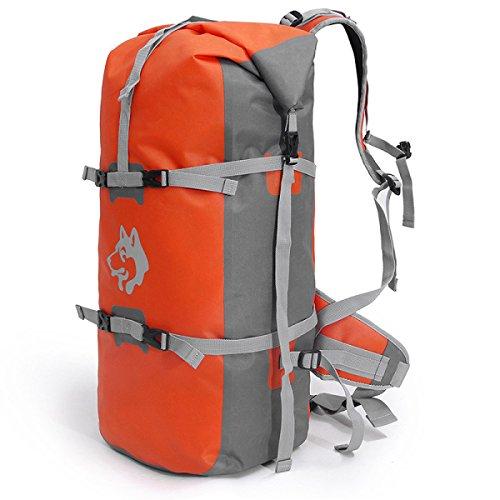 Große Kapazität Im Freien PU Rucksack Wasserdicht Bergsteigen Klettern Tasche Orange