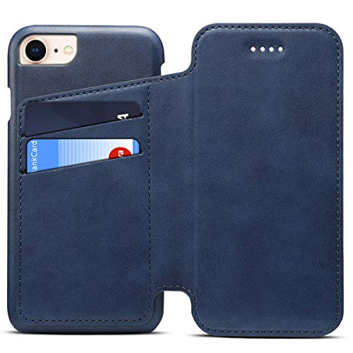 Apple iPhone 7 Leder Handy Hülle Flip Case Handytasche Cover Schale mit Kredit Karten Fach Geldbörse Geldklammer Leder Handy Schutzhülle,Blau
