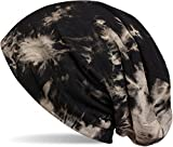 styleBREAKER Beanie Mütze mit Batik Muster, Vintage washed Look, Slouch Longbeanie, Unisex 04024081, Farbe:Schwarz-Beige
