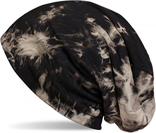 styleBREAKER Beanie Mütze mit Batik Muster, Vintage Washed Look, Slouch Longbeanie, Unisex 04024081, Farbe:Schwarz-Beige -