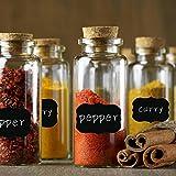 Aibecy Pegatinas reutilizables etiquetas adhesivas de pizarra 40 unidades pegatinas de tarro a prueba de agua ideal para frascos de despensas de cocina, copas de vino, etc