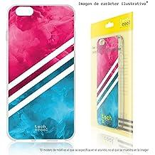 FunnyTech® Funda Silicona para BQ Aquaris M5 [Gel Silicona Flexible Alta Calidad] [Ultra Slim 1,5mm-Gran Resistencia] [Diseño Exclusivo, Impresión Alta Definición] [Textura franja rosa]