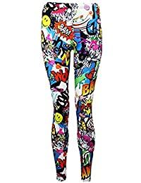 FASHION CHARMING-Frauen Bang Wow Zap Comic Cartoon Drucken Bunte Ganzkörperansicht Legging