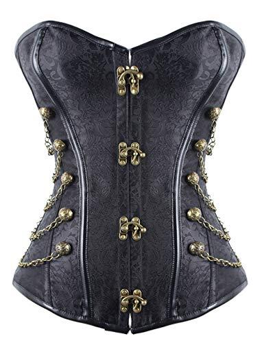 FeelinGirl Damen Vintage Corsage Top Korsett Steampunk Gothic Punk Korsage M - Frauen Große Schwierigkeiten Kostüm