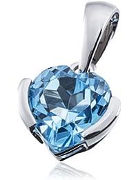Goldmaid - Pendentif Femme - Or Blanc 9 carats - Topaze bleue