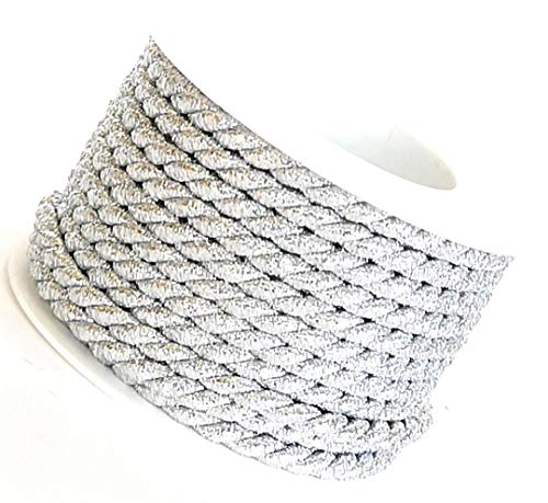 Kordel 10m x 6mm Silber Drehkordel Kordelband Kordelschnur