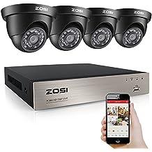 ZOSI AHD 8CH 720P Vidéo DVR 4 Caméras de Surveillance Extérieures 1.0MP AHD 1280*720 65ft (20m) Vision Nocturne, Système de sécurité de surveillance, QR Code Accès à distance facile en 3G / 4G / WiFi