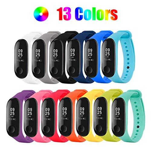 H-Piano Bracelet Xiaomi Mi Band 3, (13 PCS) Silicone Band for XIAOMI Mi Band 3 Replacement Strap - Loss Prevention