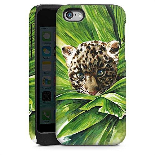 Apple iPhone 4 Housse Étui Silicone Coque Protection Bébé léopard Jungle Prédateur Cas Tough brillant