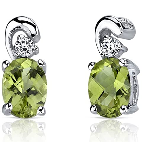 Revoni Sleek and Radiant 1.50 Carats Peridot Earrings in Sterling Silver