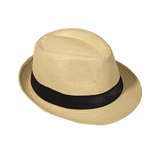 Strohhut Panama Fedora Trilby Gangster Hut Sonnenhut mit Stoffband Farbe:-Beige (Strohhut) Gr:-54