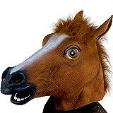 XIAO MO GU Masque de Tête d'animal Cheval en Latex, Masque Décorations de Costumes Halloween Party pour Adulte - Marron