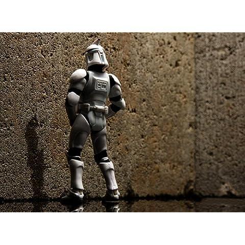 imagenation Star Wars–Soldado clon Slash–enmarcado 100% algodón impresión de Lienzo–listo para colgar, 50CM X 70CM X 5CM DEPTH / 20