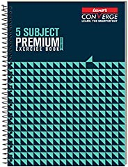 Luxor 5 Subject Spiral Premium Exercise Notebook, Single Ruled - (21cm x 29.7cm), 250 Pages