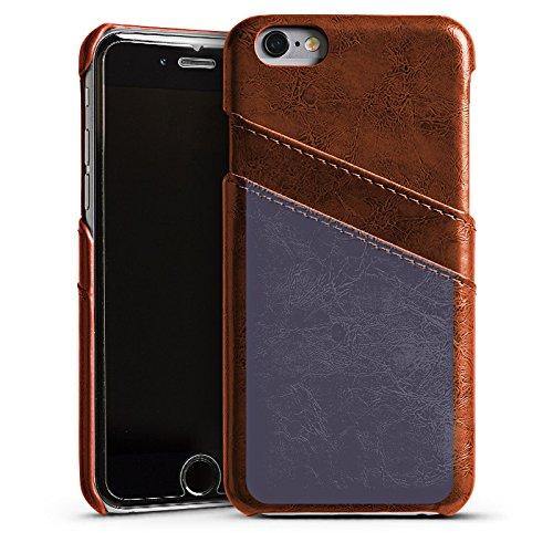 Apple iPhone 5s Housse Étui Protection Coque Gris sombre Gris Gris Étui en cuir marron