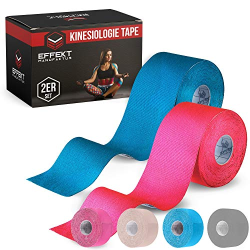 Effekt Manufaktur® Kinesiologie Tape in verschiedenen Farben (5m x 5cm) - Kinesiotapes wasserfest und elastisch Sport - Physiotape Kinesiotape Set Sporttape - Tape Kinesio (Hellblau + Pink, 2er Set)