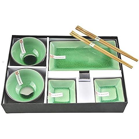 Tokyo Design Studio Glassy Green Sushi Juego completo–8piezas–Sushi Vajilla 2Sushi Platos, 2Dip cuencos, 2Arroz de cuencos de porcelana de calidad con 2pares palillos–Esmalte de Bella crackleware–En Caja De