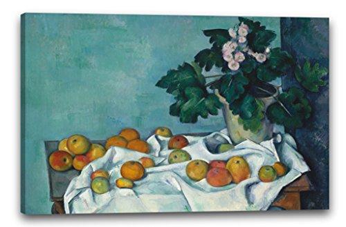 Paul Cézanne - Stillleben mit Äpfeln und einem Topf Primeln (ca. 1890), 80 x 60 cm (weitere Größen verfügbar), Leinwand auf Keilrahmen gespannt und fertig zum Aufhängen, hochwertiger Kunstdruck aus deutscher Produktion (Mit Stillleben Cezanne Äpfeln)