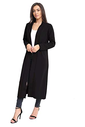 New Ladies Women's Plain Long Sleeve Crepe Maxi Cardigan UK Plus ...