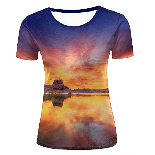 qianyi maoyi Women Casual 3D Print Calm Lake Reflections and Colorful Sunset Short Sleeve Summer T-Shirts Fashion Graphic Tees L