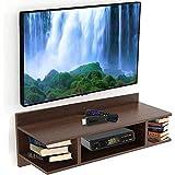 Ereteken ART TV, Set Top Box Entertainment Unit Wall Stand Shelf Rack (Brown)