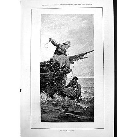 Impresión Antigua de la Mujer de la Esposa de Fishermans Que Une el Bote Pequeño 1877 de la Cuerda