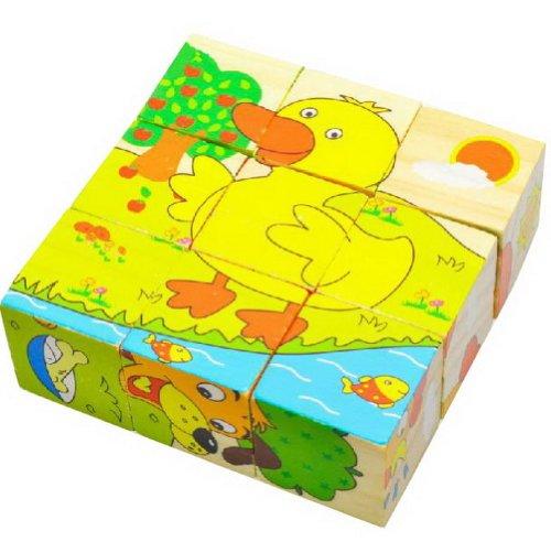 Einfaches Holz Bausteine für Säuglings- und Toddle, 9 Stück Vieh Puzzle-Blöck (Phantasie Entdeckung Blöcke)
