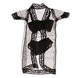 Ropa Y Accesorios Best Deals - Accesorios Ropa Pijamas Encaje Fijado con Mangos Muñecas Barbie Negras
