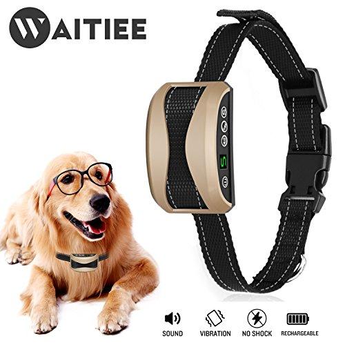 Anti-bell Halsband, Waitiee 2017 Upgrade Version USB Wiederaufladbar Anti-Bell Hundehalsband mit 7 Empfindlichkeit Ebenen Erziehungshalsband Ton & Vibration, Keine Schocks / keine Schmerzen