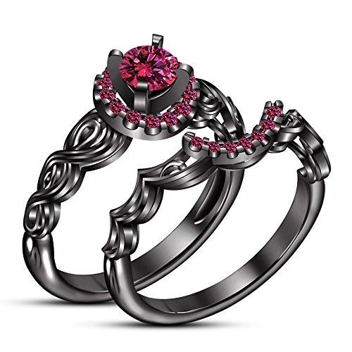 Vorra Fashion Rund Brillantschliff rosa Saphir schwarz rhodiniert Engagement Ring Hochzeit Set (Schwarz Und Rosa Saphir-ring)