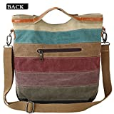 Womens Multi-Color Canvas Handbag Shoulder Bag Crossbody Bag Multi-Color Tote Handbag