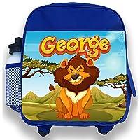 Personalised Kids Backpack Any Name Safari Lion Boys Childrens School Bag
