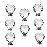 #1: 8 x 40mm JP Hardware Clear Crystal Glass Door Knobs Drawer Cabinet Furniture Handles Drawer Pull Cabinet Dresser Handles Wardrobe Glass Knobs