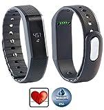 Newgen Medicals Bluetooth-4.0-Fitness-Armband FBT-55.w mit Nachrichten-Anzeige