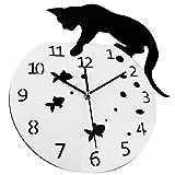Horloge Murale en Forme de Chat Queue de Pendule Acrylique Ultra-Silencieux Wobbling Chambre Salon Cuisine Bureau Décor , 001