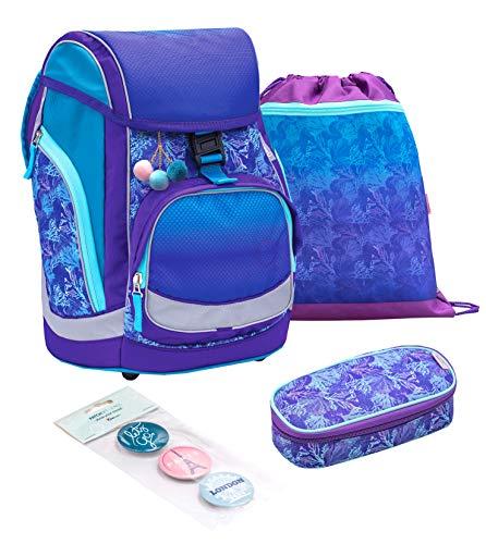 Belmil ergonomischer Schulranzen Set 3 - teilig für Mädchen 1, 2, 3, 4 Klasse für Schule, Outdoor und Reisen/Memory Schaum, Hüftgurt und Brustgurt/Lila, Purple, türkis(405-11 Mermaid)