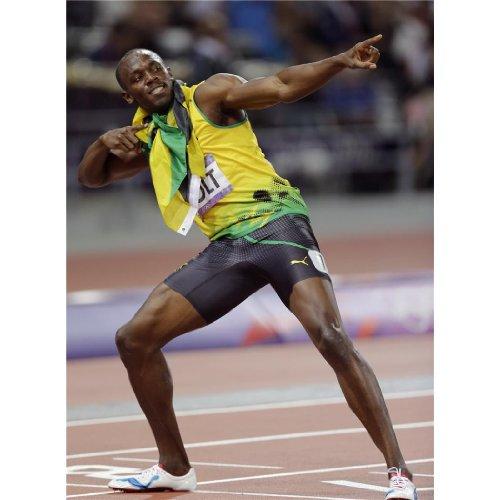 Usain Bolt (14inch x 19inch / 35cm x 48cm) Silk Print Poster - Seide Plakat - C50014 (Bolt Seide)