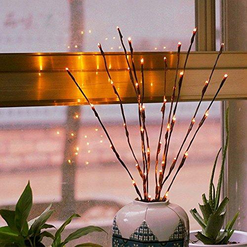 Zweiglichter - Led Niederlassungen Batteriebetriebene dekorative Lichter Willow Twig Beleuchtete Zweig für Heimtextilien Warmweiß - 20 Zoll 20 LED-Leuchten [2 Pack]