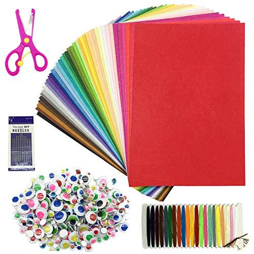 Wartoon 40 Farben Filzstoff Bastelfilz Filz Blätter Polyester Felt Fabric DIY Stoff filzplatten, 20 x 30cm