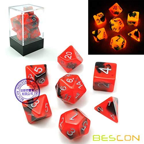 rfel Spielwürfel Gemini Two-Tone Leuchten D&D Dice Set HOT ROCKS, Helle RPG - Rollenspiel Polyedrische Dice 7pcs Set d4 d6 d8 d10 d12 d20 d%, Brick Box Packaging ()