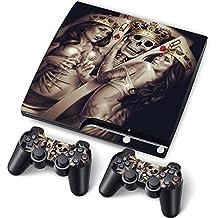 PS3 Slim PlayStation 3 Slim Skin Aufkleber PVC für Konsole + 2 Controller / Pads Schutzfolie Aufkleber Cover Art #2 queens#