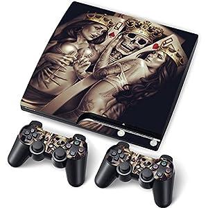 PS3 Slim Designfolie Sticker Skin Set für Konsole 2 Controller by Funky (Alien)