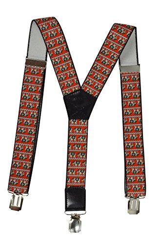 Hosenträger für alle Altersstufen - Erwachsene (2.5cm). Y-Form mit Schick Muster. Rot mit Elefanten