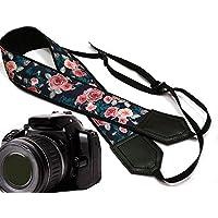 Pink Roses mit blaugrün Leafs Kameragurt. Blume Kameragurt. Schwarz DSLR/SLR Kamera Gurt. Robust, leichtes und gut gepolstert Kamera Strap. Code 00134
