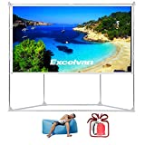 #6: Excelvan Outdoor Indoor Compatible Wrinkle Free Portable Projector Screen With Trapezoid Base Stand With Transportable Bag for Installing Camping Outdoor Theater Movie, Gaming (100