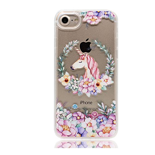 iPhone 7 Plus Custodia, Bling che scorre liquido scintillante disegno rigido TPU indietro Case Cover Copertura per iPhone 7 Plus 5.5 - Cartoon Carino cavallo - Graffi Resistenti # 7