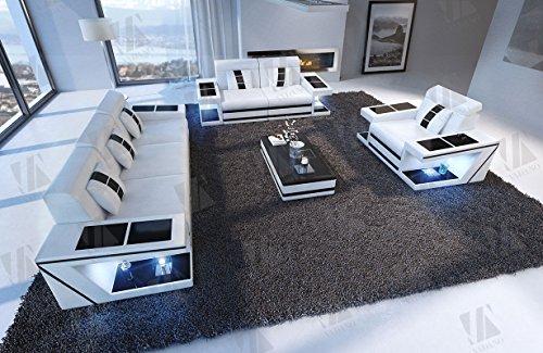Designer Couch Paderborn 3er, 2er & Sessel weiss schwarz